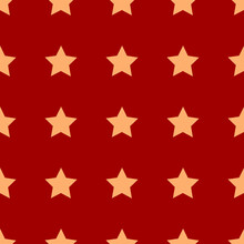 Gold Star On Red Background Pattern. Red Seamless Pattern With Beautiful Gold Stars. Vector Illustration. Wrapping Paper, Textile. Holiday Background.