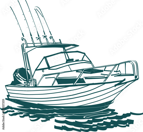Carta da parati fishing boat on the water