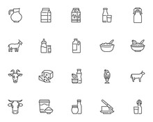 Dairy Products Line Icons Set