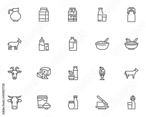 Fotografia Dairy products line icons set
