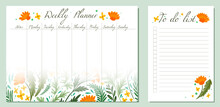 Set Of Day Organization Templates With Grass And Flower Of Fields. Weekly Planner And To Do List. Vector Cards With Wormwood, Fennel, Dandelion Pattern. Setting Tasks For The Day And For The Week