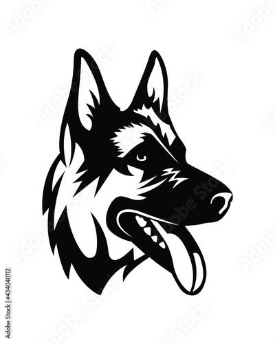 Fototapeta Decorative portrait in profile of German shepherd dog