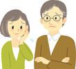 イラスト素材:老夫婦が向かい合って困った表情で思い悩む場面  腕組みしたおじいさん