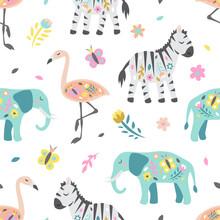 Safari Childish Seamless Pattern. Cute Zebra Elephant And Flamingo. Creative Texture For Fabric, Textile