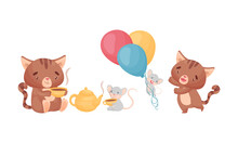 Cute Friendly Cat And Mouse Drinking Hot Tea And Playing With Balloons Vector Set