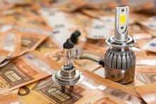 Modern Car Bulbs On 50 Euro Bills
