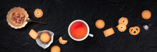 Danish Butter Cookies Panoramic Banner With A Cup Of Tea