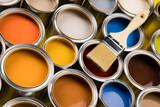 Fototapeta Zwierzęta - Rainbow colors, Paint can with a paintbrush