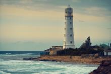Lighthouse In Tarkhankut National Park In The Republic Of Crimea