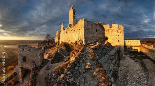 Fotografie, Obraz Ruins of Plavecky castle on the hill, Slovakia