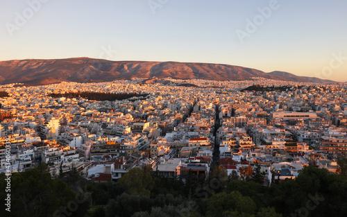 Fototapeta Athens skyline at sunrise from Acropolis, Greece