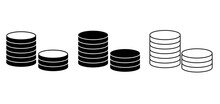 Outline Coins Icon. Money Stacked Coins Icon. Vector Illustration.