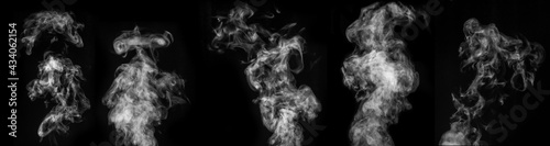 Slika na platnu A perfect set of five different mystical curly white steam or smoke on a black background