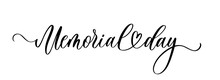 Memorial Day. Wavy Elegant Calligraphy Spelling For Decoration On Holidays