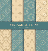 Vintage Seamless Patterns. Abstract Vector Ornaments.