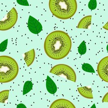 Seamless Pattern Of Kiwi Pieces And Leaves On A Mint Background. A Natural Pattern.