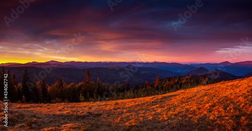 Attractive evening landscape illuminated by the sunset. Carpathian mountains, Ukraine, Europe.