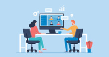Flat Vector People Online Video Conference For Meeting With Remote Technology Working And People Work From Home And Business Smart Working Online Connect Anywhere Concept
