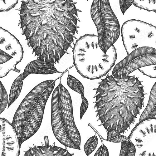 Billede på lærred Hand drawn sketch style soursop fruit seamless pattern