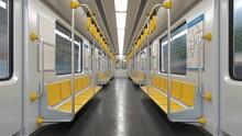 Inside Empty Subway Car, Metro Car Empty Interior 3d Rendering