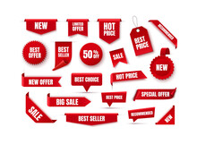Discount Labels And Tags. New Offer Tags. Best Seller Badges. Vector Banners. Vector Illustration