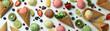 Leinwandbild Motiv Fruit ice cream and ingredients on white background