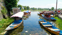 Beautiful View Of Srinagar, The Capital Of Kashmir, India On The Banks Of The Jhelum River