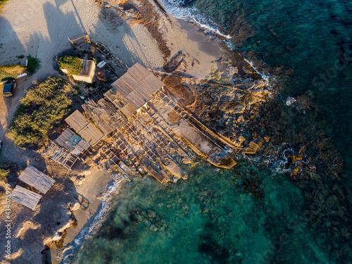 Leinwand Poster Ca Marí boathouse huts, Migjorn, Formentera, Pitiusas Islands, Balearic Communit