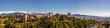 Leinwandbild Motiv Panorama Schnee und Palast Alhambra in Granada Spanien Andalusien