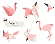 Origami Set Vector Stock Illustration With Figures Of Swan, Unicorn, Fox, Bird, Flamingo And Rabbit. Perfect For Pink Lovers And Baby Shower.