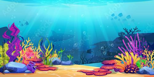 Fotografia Coral reef underwater world with marine animals silhouettes and algae seaweeds, sea bottom cartoon background
