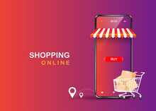 Trolleys Full Of Boxes, Parcels, Balloons, Buttons, Shopping Icons And Smartphone Stores Floating On The Purple Background,vector 3d  Delivery And Shopping Online Concept Design