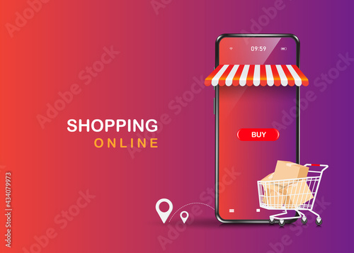 Slika na platnu Trolleys full of boxes, parcels, balloons, buttons, shopping icons and smartphon