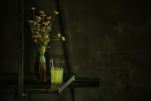 Flowers Vase Still Life, Seasonal Summer Inside Vintage Style, Yellow Flowers Wild