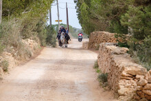 Horse Riders On A Green Route Of Migjorn, Formentera, Pitiusas Islands, Balearic Community, Spain