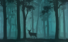 Background With Moose Walking In The Forest, Flying Birds And Deer In The Distance, Vector Illustration
