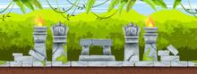 Jungle Game Seamless Aztec Landscape, Mexican Tropical Ancient Background, Stone Altar, Totem Face. Maya Temple Ruin Illustration, Rainforest Silhouette, Vine, Fire. Environment Game Level Landscape