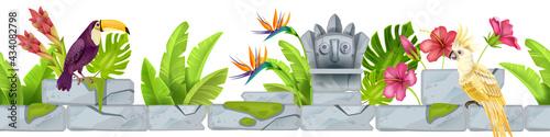 Valokuva Jungle stone seamless vector border, tropical rocks frame, toucan, parrot, exotic flowers, totem face