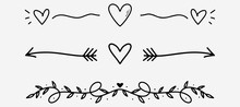 Love Dividers Sketch. Hand Drawn Romantic Divider In Doodle Style. Heart Shape With Arrows Doodle. Handdrawn Decorative Art Shape. Vector EPS 10