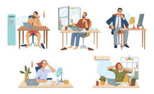 Employees Working In Office During Summer Heat, Isolated People Using Fans And Air Conditioning Systems To Cool Down. Sweating Males And Females By Computers And Desks. Vector In Flat Cartoon Style