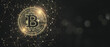 canvas print picture - Blockchain and cryptocurrency concept with golden bitcoin symbol on circuit surrounded by chaotically located lines on dark abstract backdrop with copyspace for your text. 3D rendering, mock up