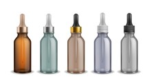 Cosmetic Vials. Realistic Glass Bottles With Dropper. 3D Cylindrical Container For Essential Liquid And Pipette. Serum Flacons Set. Vector Packaging For Skincare And Medicine Products