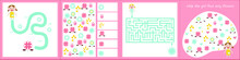 Kids Mini Games For Development. Maze. I Spy. Count The Flowers. Colorful Vector Illustration In Flat Style.
