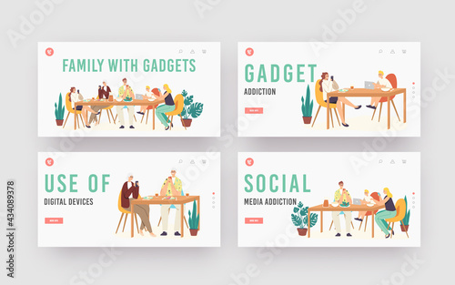 Family with Gadgets Landing Page Template Set. Characters Suffer of Social Media Addiction. Parents, Granny and Children - fototapety na wymiar