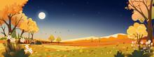 Autumn Landscape Night Sky With Full Moonstar Dark Blue Sky
