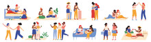 Female Friendship. Happy Girlfriends Activities, Shopping, Travelling And Chatting Isolated Vector Illustration Set. Young Female Friends