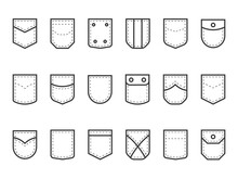 Patch Pocket. Clothes Pouches With Flaps, Buttons And Decor Seams. Types Set Of Decorative Elements For Jeans Or Shirt. Black And White Fashion Sewing Template. Vector Tailors Mockup
