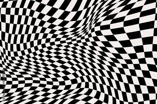 Billede på lærred Abstract Distorted Checkered Background