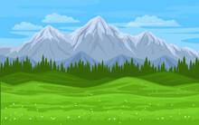 Mountain Forest Meadow Landsccape