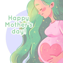 Watercolor Mothers Day With Pregnant Woman